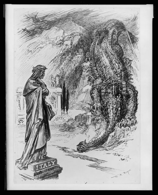 Lo, the fell monster with the deadly sting who passes mountains, breaks through fenced walls and firm embattled spears, and with his filth taints all the world - Dante's Inferno