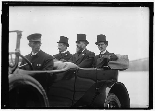 LONG, BRECKENRIDGE. 3RD ASST. SECRETARY OF STATE, 1918. LONG IN AUTO WITH 2 OF THE FR.COMMN.