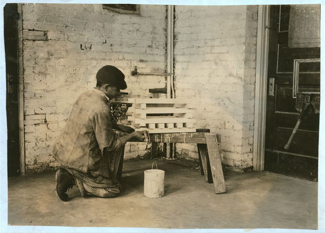 Making flower boxes in carpenter-shop. Pauls Valley Training School. See 4833-4842.  Location: Pauls Valley, Oklahoma / Lewis W. Hine.