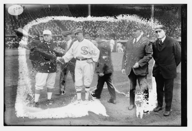 """[Managers John McGraw, New York NL & Clarence """"Pants"""" Rowland, Chicago AL at 1917 World Series (baseball)]"""
