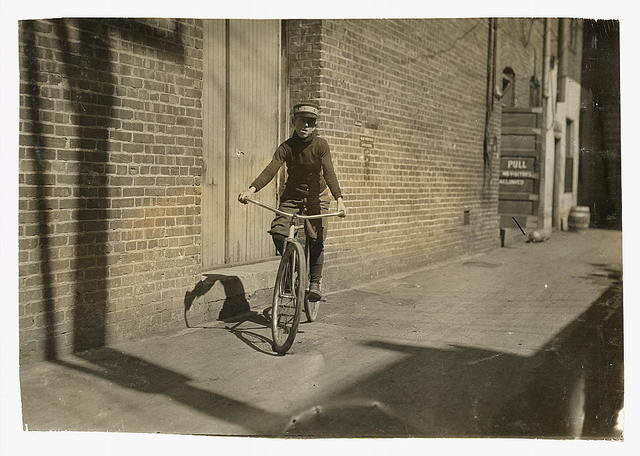 """Manley Creasson, 914 W. 6 St. Messenger #6, Mackay Telegraph Co. Says he is 14; school records say 13. Says he has steady job - """"Been a messenger for years. Get $15 for 2 weeks' pay.""""  Location: Oklahoma City, Oklahoma / Lewis W. Hine."""