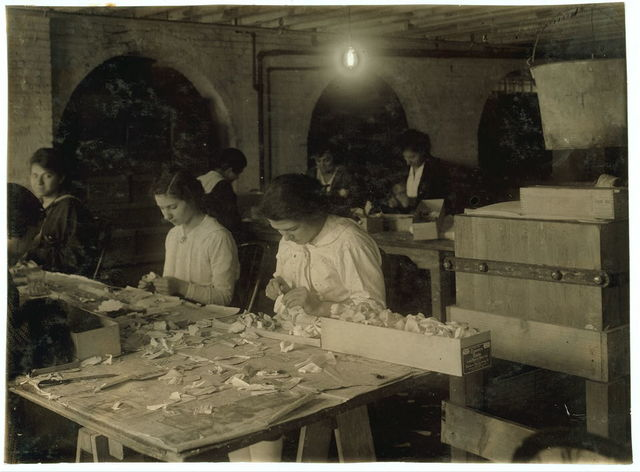 Mary Donahue, 15 years old (on right of photo), curling petals at the Boston Floral Supply Co., 347-357 Cambridge Street. Said to be the only flower factory in Massachusetts. Pauline Steele, 15 years old (on Mary's right) makes carnations. Beatrice Sicco, 15 years old (left side of photo), curling.  Location: Boston, Massachusetts / Lewis W. Hine.