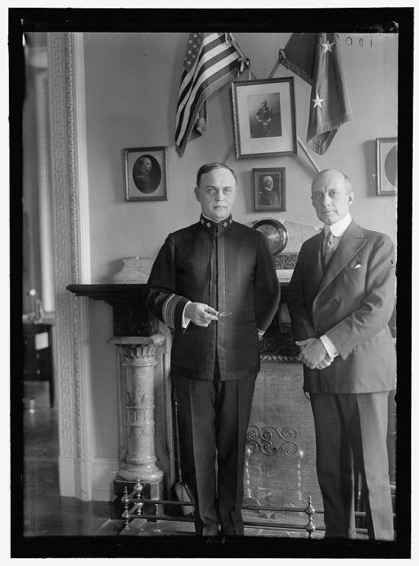 McGOWAN, SAMUEL. REAR ADMIRAL, U.S.N.; PAYMASTER GENERAL, 1914-. LEFT, WITH L. G. STEVENSON