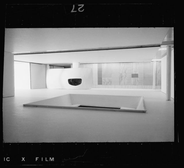Miller house, Columbus, Indiana, 1953-57. Model of variant fireplace