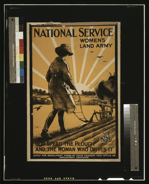 """National Service Women's Land Army. """"God speed the plough and the woman who drives it"""" / H.G. Gawthorn ; D.A. & S. Ld. London."""