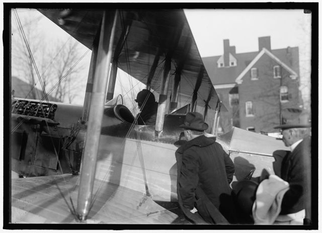 OCKER, SARGENT, AVIATOR; REBER, SAMUEL, COL. U.S.A. SIGNAL CORPS; BLEAKLEY, ORRIN DUBBS, REP. FROM PENNSYLVANIA, 3/4/17 - 4/3/17. ELECTED, DID NOT QUALIFY. HIS PLANE; CURTISS AIRPLANE, BIPLANE TRACTOR BIPLANE CURTISS 6-X ENGINE; MARTIN AIRPLANE