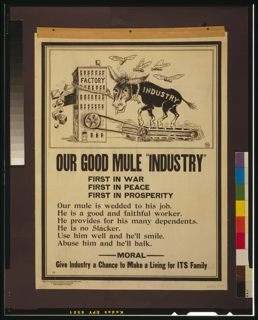 "Our good mule ""Industry"" First in war--First in peace--First in prosperity."