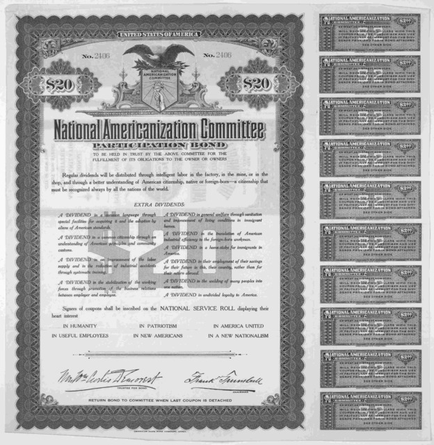 ... Participation bond to be held in trust by the above committee for the fulfillment of its obligations to the owner or owners ... [New York 1917.].