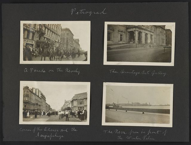 Petrograd. A parade on the Nevsky. The Hermitage Art Gallery. Corner of the Litania and the Sergiefskaya. The Neva from in front of the Winter Palace