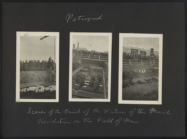 Petrograd. Scenes of the burial of the victims of the March Revolution on the Field of Mars