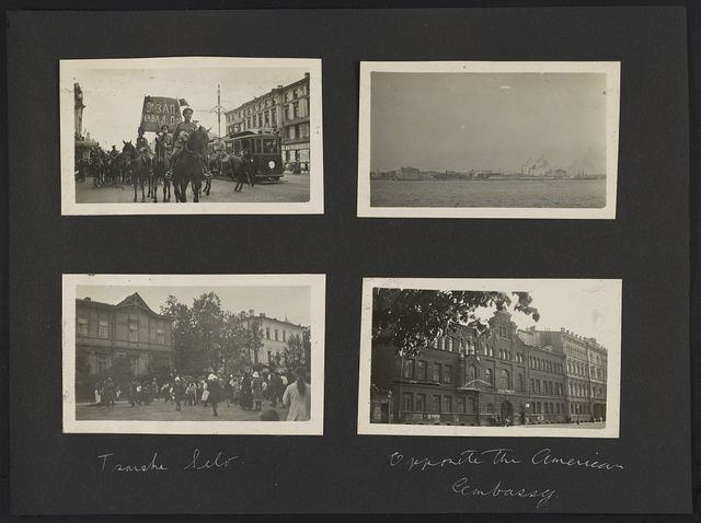 [Petrograd. Soldiers on horseback and trolley in street. Neva River]. Tsarske [i.e. Tsarskoe] Selo. Opposite the American Embassy