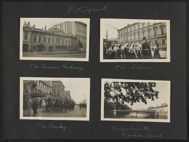 Petrograd. The American Embassy. The Litania. The Nevsky. Bridge over the Fontanka Canal
