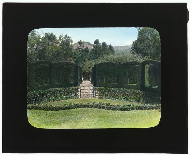 """[""""Piranhurst,"""" Henry Ernest Bothin house, 371 Cold Spring Road, Montecito, California. View to outdoor theater boxes]"""