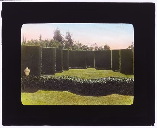 """[""""Piranhurst,"""" Henry Ernest Bothin house, 371 Cold Spring Road, Montecito, California. View to outdoor theater stage]"""
