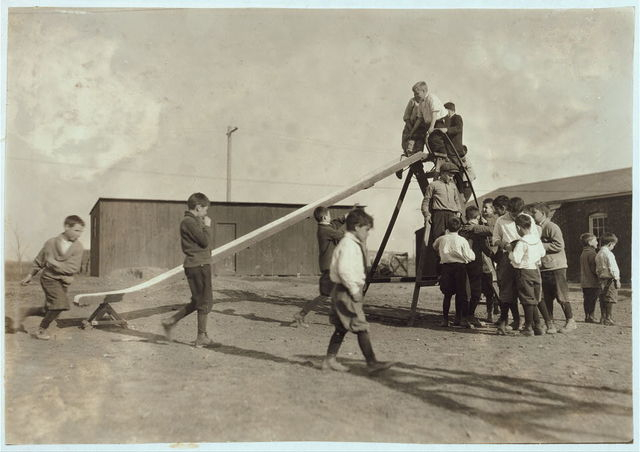 [Play-time at the Oklahoma School for the Blind. Children have a great deal of freedom (Ellis report). Photos were not posed.]  Location: [Muskogee, Oklahoma] / Lewis W. Hine.