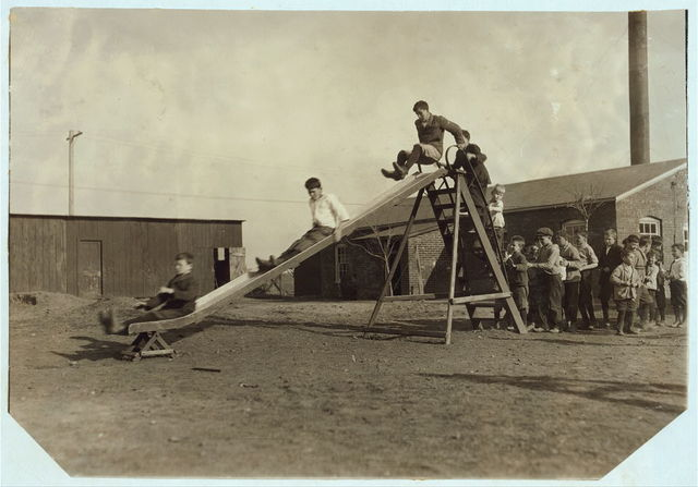 Play-time at the Oklahoma School for the Blind. Children have a great deal of freedom (Ellis report). Photos were not posed.  Location: Muskogee, Oklahoma / Lewis W. Hine.