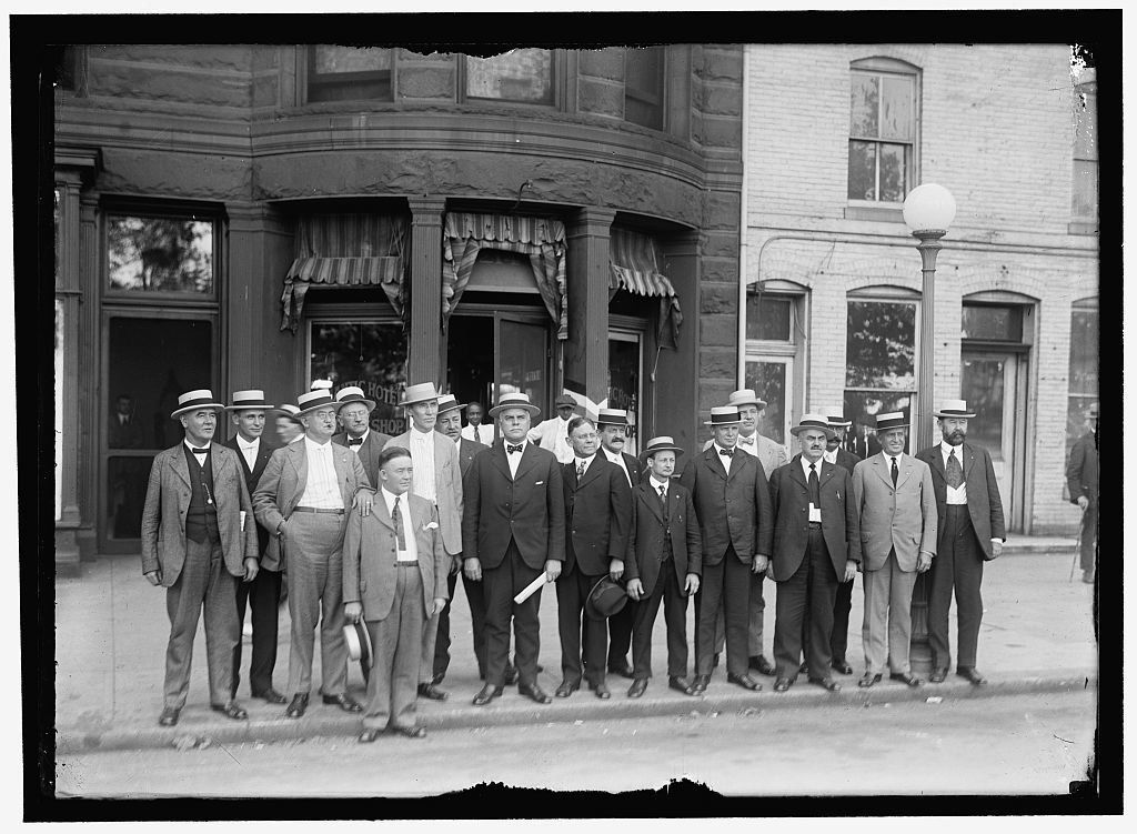 RAILWAY BROTHERHOODS GROUP: C.M. RODGERS; MR. LEWIS; W.G. LEE, PRES., BROTHERHOOD OF RAILWAY TRAINMEN; S. VEACH; A.B. GARRETSON, PRES. ORDER OF RAILWAY CONDUCTORS; W.J. BURKE; W.S. STONE, GRAND CHIEF, BROTHERHOOD OF LOCOMOTICE ENGINEERS; W.S. CARTER, PRES. BROTHERHOOD OF LOCOMOTIVE FIREMEN