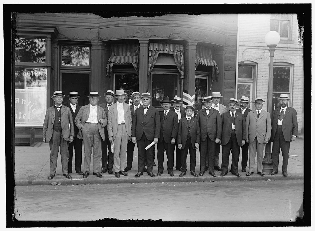 RAILWAY BROTHERHOODS GROUP: C.M. RODGERS; MR. LEWIS; W.G. LEE, PRES., BROTHERHOOD OF RAILWAY TRAINMEN; S. VEACH; A.B. GARRETSON, PRES. ORDER OF RAILWAY CONDUCTORS; W.J. BURKE; W.S. STONE, GRAND CHIEF, BROTHERHOOD OF LOCOMOTICE ENGINEERS; W.S. CARTER, PRES. BROTHERHOOD OF LOCOMOTIVE FIREMEN