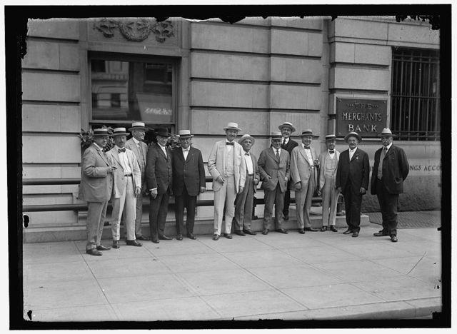 RAILWAY PRESIDENTS: T.M. SCHUMACHER, V.P., EL PASO & SOUTHWESTERN; J.H. YOUNG, PRES. NORFOLK SOUTHERN; G.W. STEVENS, PRES. C. & O.; DANIEL WILLARD, PRES. B. & O.; J.H. CARROLL, GEN. ATTY., C.B. & Q.; HALE HOLDEN, PRES. C.B. & Q., AND CHAIRMAN OF DELEGATION; M.J. CARPENTER, PRESIDENT, CHICAGO, TERRE HAUTE