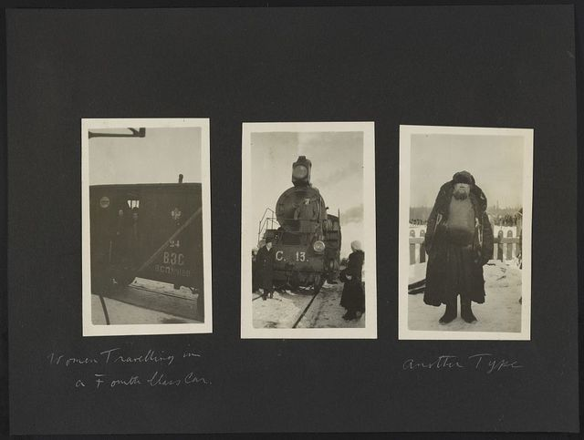 [Russia]. Women travelling in a fourth class car. [Locomotive]. Another type.