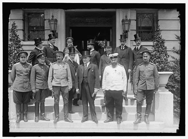 RUSSIAN MISSION TO U.S. ORONOVSKY, COL., RUSSIAN ARMY; BORODINE, PROF., MEMBER OF AGRICULTURE; BACHMETEFF, BORIS, SPECIAL AMBASSADOR TO U.S. AND HEAD OF RUSSIAN WAR MISSION; CHUTT, CAPT., RUSSIAN ARMY; GUNSBURG, BARON, SPECIAL ATTACHE; LOMONOSOFF, PROF.; ROOP, LT. GENERAL, CHIEF OF GENERAL STAFF, RUSSIAN ARMY; SAK, ENGINEER ATTACHE; SERGIEVSKY; KARPOVITCH, MILITARY ATTACHE; SERGIEVSKY; PERTZOFF, D.P.