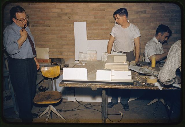 Saarinen office staff: Eero Saarinen (left) and Alan Tunstall, Bloomfield Hills, Michigan.