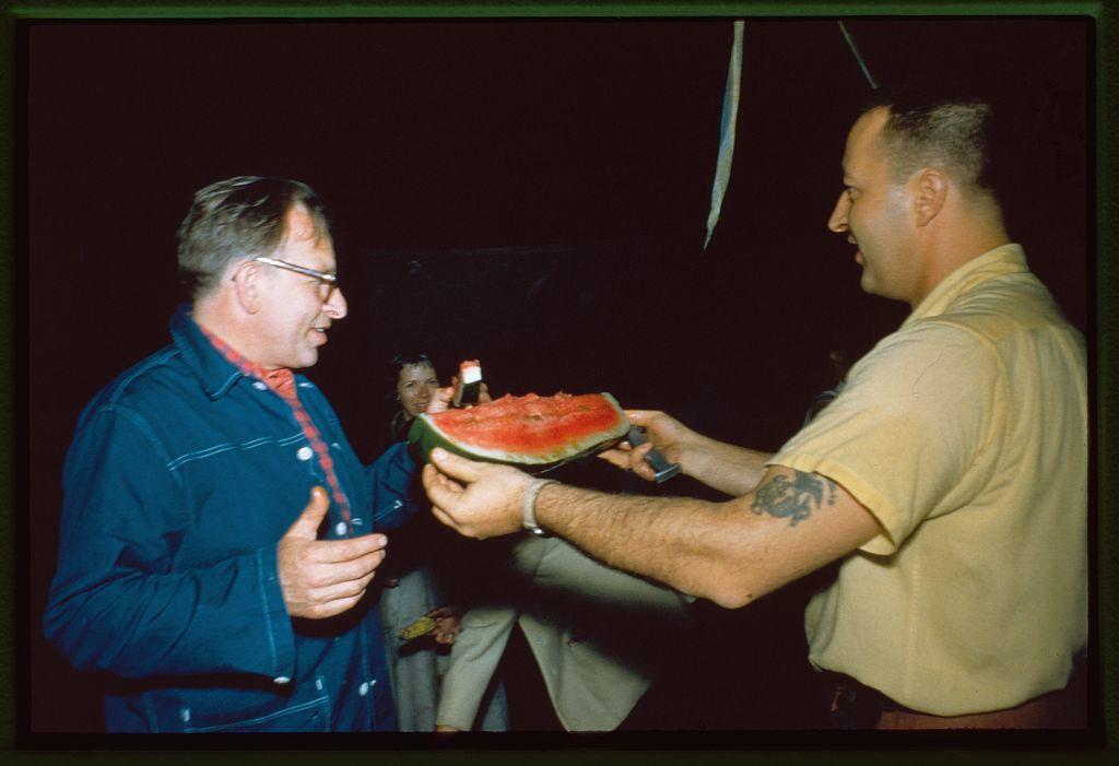 Saarinen office staff: Eero Saarinen (left) and Tom Lucas, Bloomfield Hills, Michigan.