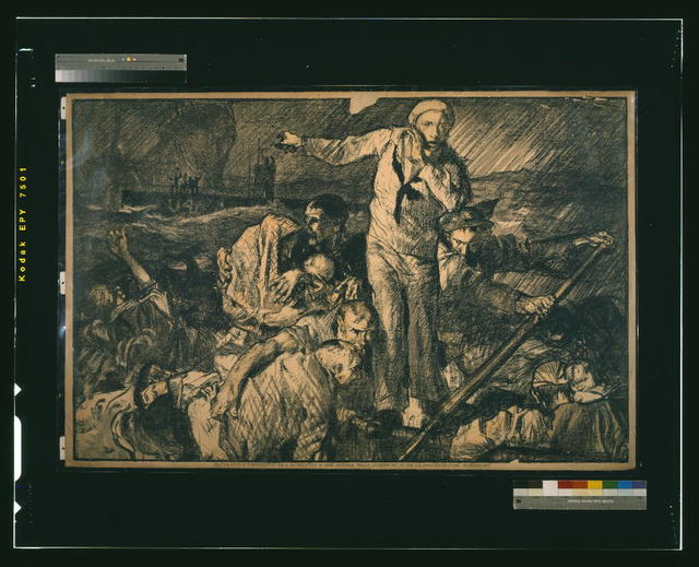 [Sailors and others in a lifeboat, as one sailor gestures to a submarine in the background] / F. Brangwyn A.R.A.