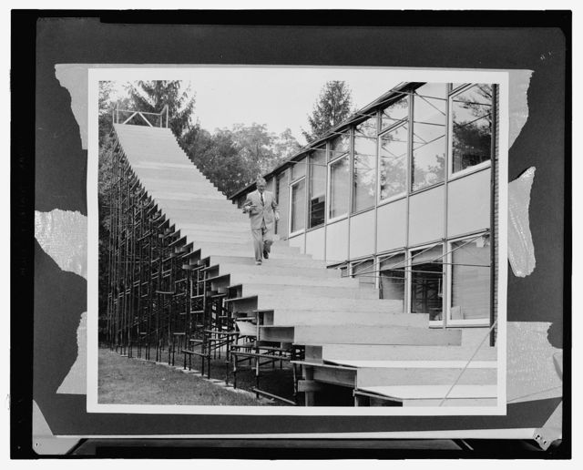 Saint Louis Gateway Arch (originally Jefferson National Expansion Memorial), Saint Louis, Missouri, 1947-65; dedicated, 1968. Mock-up of stair