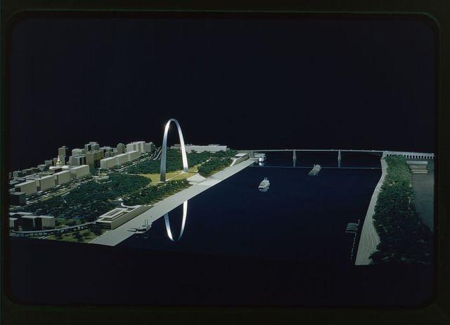 Saint Louis Gateway Arch (originally Jefferson National Expansion Memorial), Saint Louis, Missouri, 1947-65; dedicated, 1968. Model