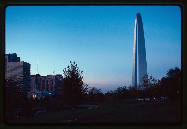 Saint Louis Gateway Arch (originally Jefferson National Expansion Memorial), Saint Louis, Missouri, 1947-65; dedicated, 1968. View