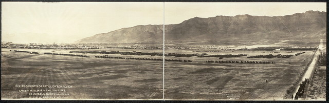 Six regiments of artillery on review, largest artillery review since 1865, Gen. Greble, reviewing officer, El Paso, Tex., 1917