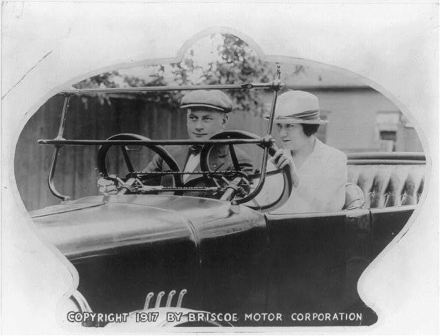 [Student and instructor in automobile - notice the dual controls]