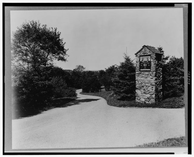 "[""Surprise Valley Farm,"" Arthur Curtiss James property, Beacon Hill Road, Newport, Rhode Island. Entrance pathway]"