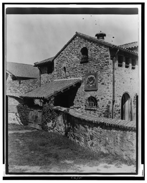 """[""""Surprise Valley Farm,"""" Arthur Curtiss James property, Beacon Hill Road, Newport, Rhode Island. Stone buildings and stone fence]"""