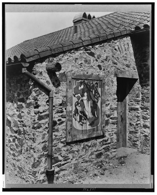 """[""""Surprise Valley Farm,"""" Arthur Curtiss James property, Beacon Hill Road, Newport, Rhode Island. Detail of mural, exterior of building]"""