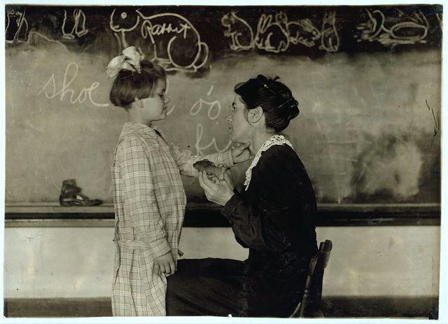 [Teaching a deaf-mute to talk. Training School for Deaf Mutes. See 4843-4851.]  Location: Sulphur, Oklahoma. / [Lewis W. Hine]