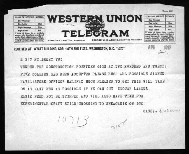 Telegram from Frederick W. Baldwin to Alexander Graham Bell, April 2, 1917