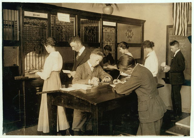 The Bank section of Commercial Room in Central High School. See Bliss report.  Location: Muskogee, Oklahoma / Lewis W. Hine.