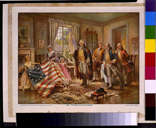 The Birth of Old Glory / from painting by Moran.