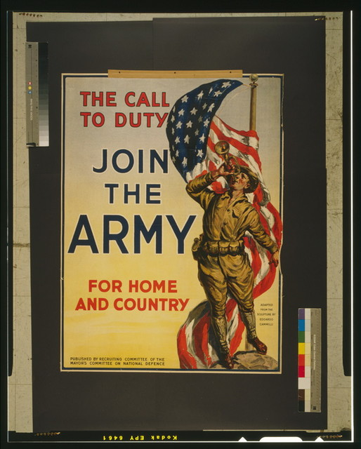 The call to duty Join the Army for home and country.