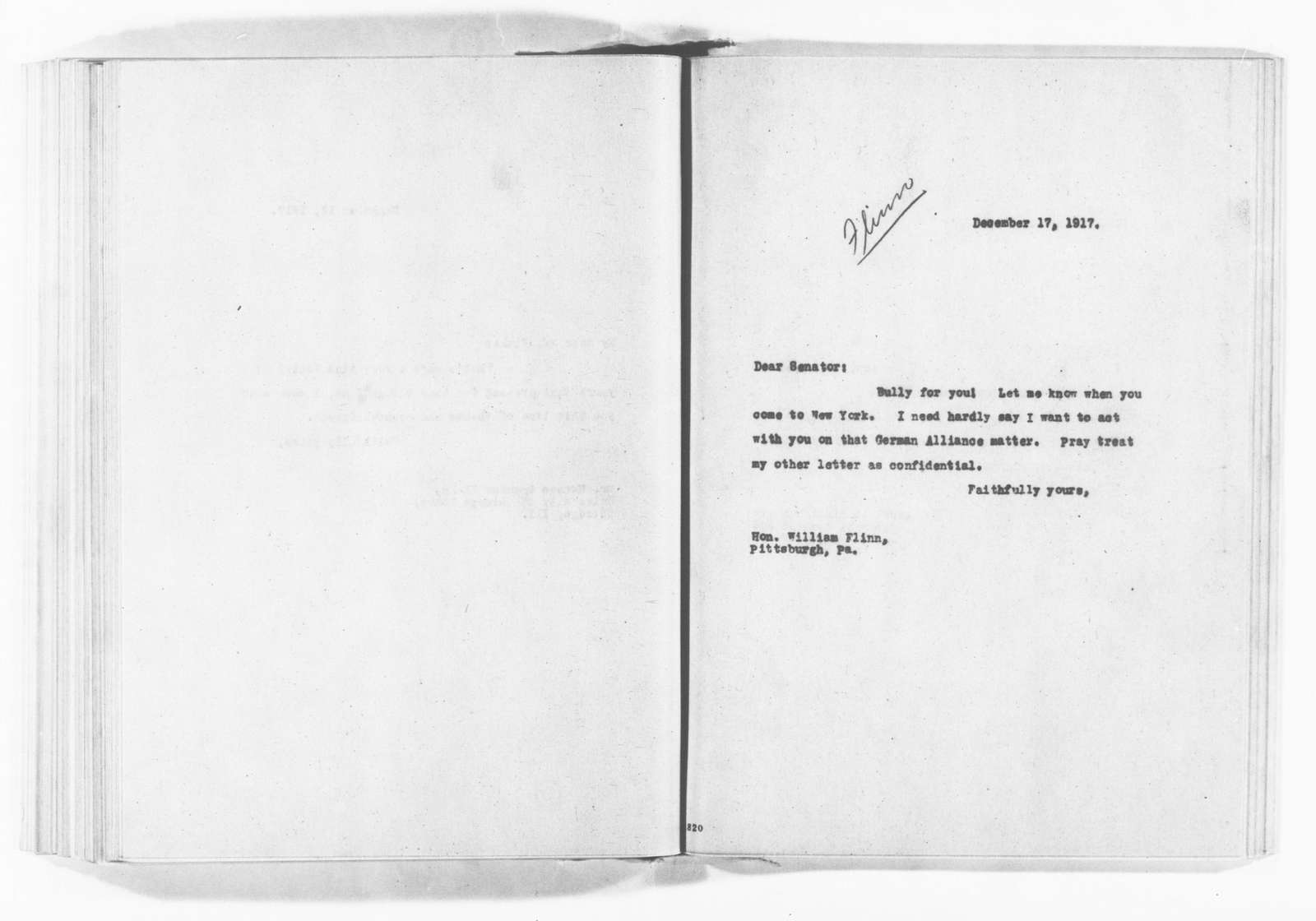Theodore Roosevelt Papers: Series 3: Letters Sent, 1888-1919; Subseries 3A: Carbon Copies of Letters Sent, 1894-1919; Vol. 143, 1917, Dec. 13-20