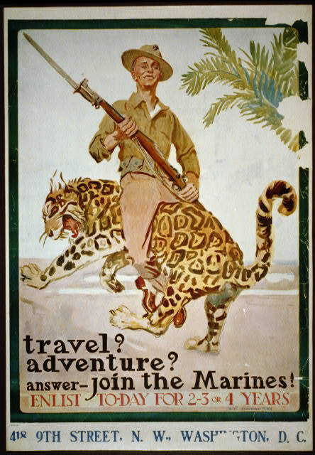 Travel? Adventure? Answer - Join the Marines! Enlist to-day for 2-3 or 4 years / / James Montgomery Flagg.