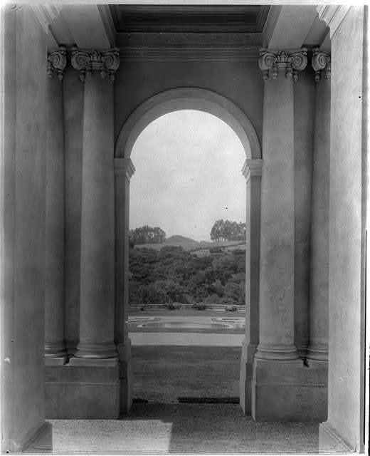 "[""Uplands,"" Charles Templeton Crocker house, 400 Uplands Drive, Hillsborough, California. View from porte cochère terrace to reflecting pool]"