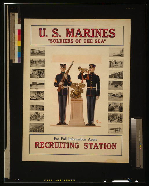 "U.S. Marines ""Soldiers of the sea"" - For full information apply recruiting station / J.C. Leyendecker."