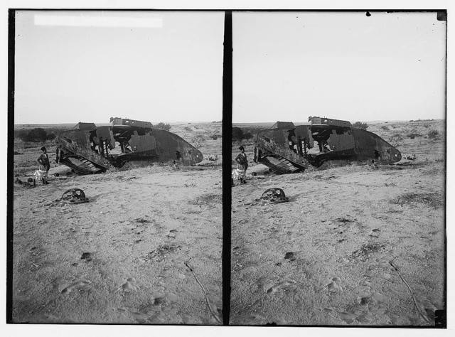 Various results of the war. Disabled tank at Gaza.
