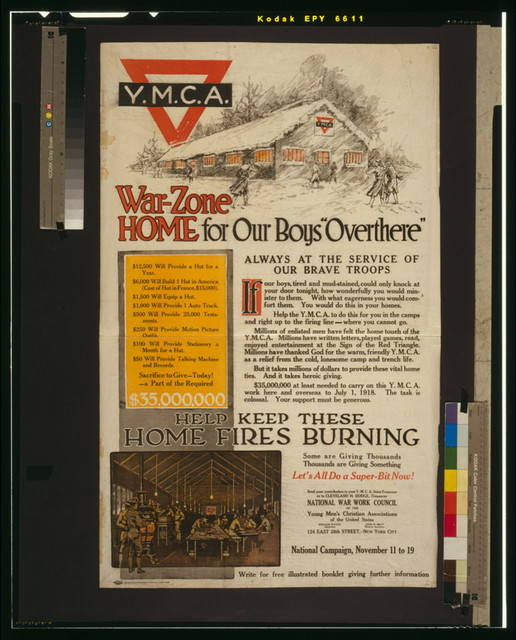 "War-zone home for our boys ""over there""--Always at the service of our brave troops Help keep these home fires burning--Some are giving thousands, thousands are giving something--Let's all do a super-bit now! / / John F. Butler ; Globe Lithographing Company, New York."