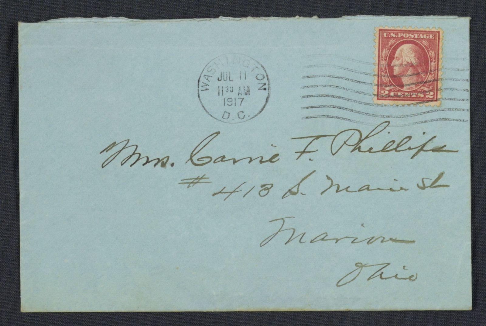 Warren G. Harding-Carrie Fulton Phillips Correspondence: Correspondence and drafts of correspondence; 1917; July-Aug.