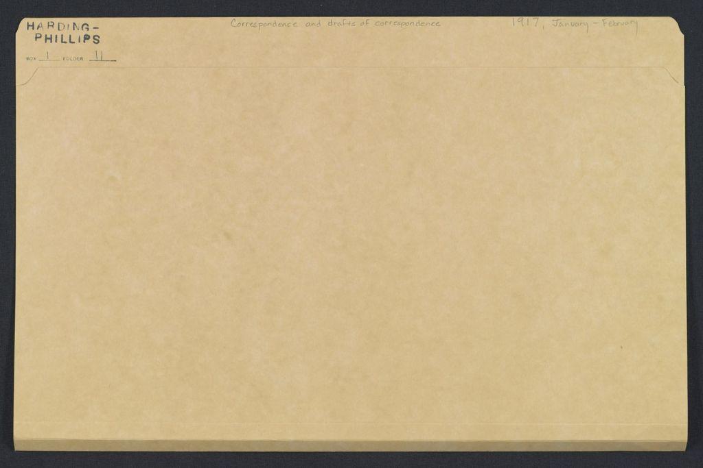 Warren G. Harding-Carrie Fulton Phillips Correspondence: Correspondence and drafts of correspondence; 1917; Jan.-Feb.