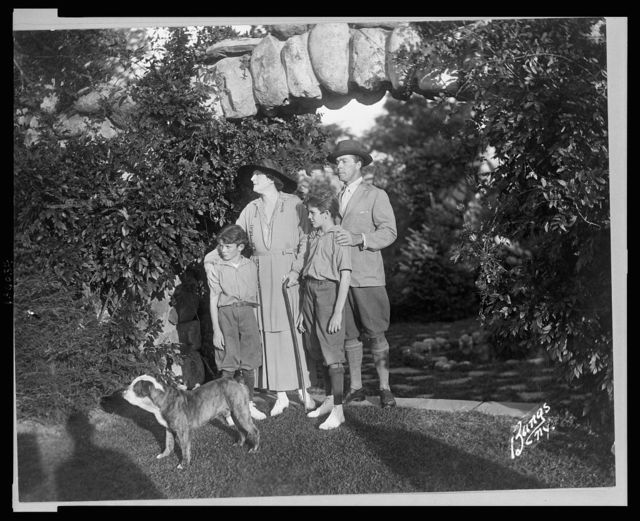 [William Faversham, Julie Opp and sons William, Jr. and Philip posed in the Rosemary Open-Air Theatre, Huntington, Long Island, site of the National Red Cross Pageant, Oct. 5, 1917] / Bangs, N.Y.